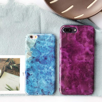 Newnest Glossy Ocean Blue Charming Purple Marble Phone Case for iPhone 6s 6 6Plus 7 7Plus i7 Stone Texture Soft TPU Funda Cover -0324