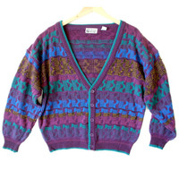 Vintage 80s Purple Cosby Cardigan Ugly Sweater - The Ugly Sweater Shop