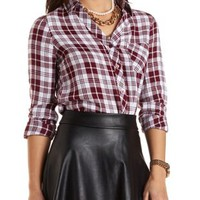 New York Graphic Plaid Button-Up Shirt by Charlotte Russe