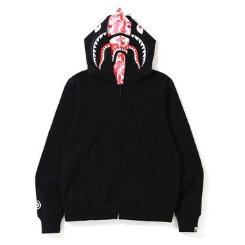 Autumn BAPE Camouflage Double Black Shark Sweater Terry Jacket Pink