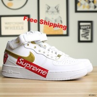 [ Free  Shipping ] Nike Air Force 1 '07 x Supreme  Running  Sneaker
