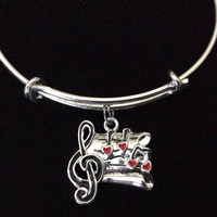 Silver Plated Resin Music Notes Charm Expandable Bracelet Adjustable Wire Bangle Gift Trendy Musician Music teacher Notes Handmade Inspired