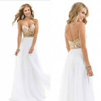 Hot sale summer beach Sweetheart Beading Chiffon Beaded Custom Desgin White Rose Gold Sparkle Dress Party gowns Prom Dresses