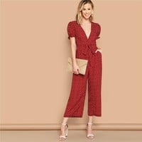 Boho Sexy Burgundy Plunging Neck Frill Cuff Slant Pocket Wide Leg Jumpsuit Women Puff Sleeve Mid Waist Belted Jumpsuits