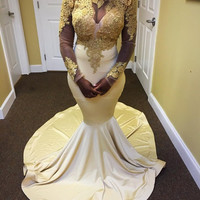 African Sheer Lace Appliques Long Sleeve Mermaid Evening Dress 2017 Sexy High Neck Ivory and Gold Black Girl Prom Party Dresses