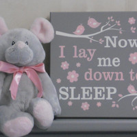 Now I Lay Me Down To Sleep - Nursery Prayer Signs - Painted Gray and Light Pink Baby Girl Nursery Decor with Birds on Branches and Flowers