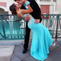 Couples Fashion Prom Dresses 2017 Turquoise Chiffon Beaded Crystals V-neckline Long Floor Length Formal African 2016