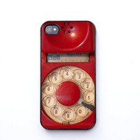 Back to school, iPhone 4 Case, ruby red, vintage phone, dial phone, retro decor, iPhone 4s, iPhone 4, iPhone accessory,  bomobob