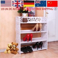 Shoe Cabinet Shoes Storage Organizer Shelf White WPC Fabric Shoe Holder Kitchen Furnit