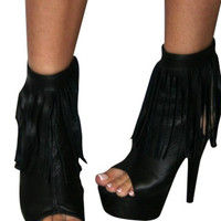 Black Leather Stripper Ankle Boot Peep Toe