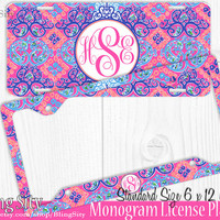 Monogram License Plate Frame Holder Metal Sign Car Truck Tags Personalized Custom Vanity Pink Purple Coral Damask Aqua Lilly Inspired