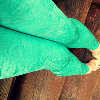 Mermaid green Crushed velvet Leggings pants