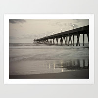 Clouds at Dusk Johnny Mercer's Pier Wrightsville Beach, NC Art Print by V. Sanderson / Chickens In The Trees