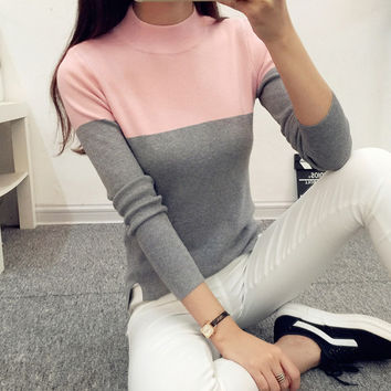 2016 High Elastic Turtleneck Women Sweaters And Pullovers Female Spring Autumn Tricot Knitted Sweater Jumper Pull Femme