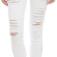 Ripped Skinny Jeans - BLANC