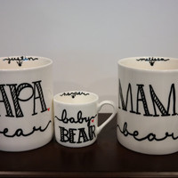 Mama Papa and Baby Bear Coffee Mug, New Parents Gift, Pregnancy Announcement Ideas, Baby Shower Gift, Bear Photo Prop, Newborn Photo Prop