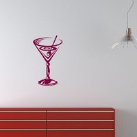 Wall Vinyl Decal Sticker Cocktail Glass for Cafe Kitchen Art Design Room Nice Picture Decor Hall Wall Chu499