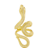 Hellenistic Gold 750° Snake Ring with Diamonds