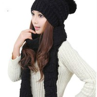 2016 Autumn and Winter New Women's Hats and Scarves Thickening Warm Knitted Women Hat and Scarf Two-Piece Suits