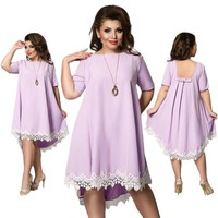 short Sleeve marla plus size Dress Fashion Lace Midi Loose Summer Party mixi hilo high low backless