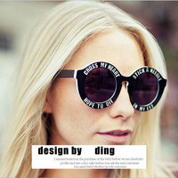 2015 New Fashion Brand Designer Funny Oversized Round Sunglasses Unisex Cross My Heart Sunglasses Holland House punk sun glasses