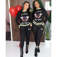 GUCCI Fashion Women Casual Print Pullover Top Sweater Pants Trousers Set Two-Piece Black