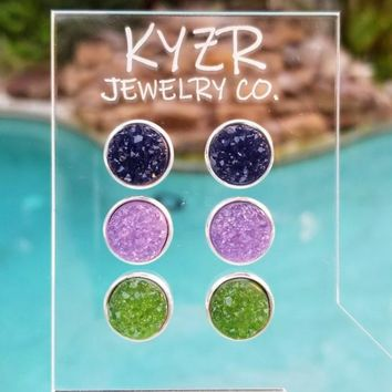 Druzy earring set- Navy/ Lilac and Pear green drusy stud set