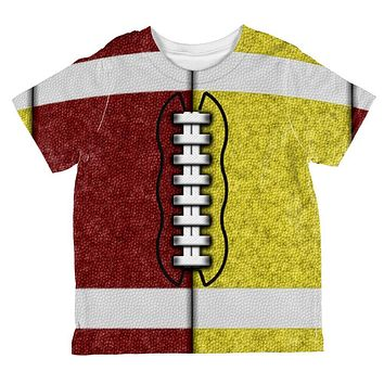 Fantasy Football Team Maroon and Yellow All Over Toddler T Shirt