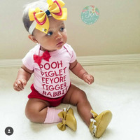 Pooh - Piglet - Eeyore- Tigger - Rabbit -  Body Suit - Glitter  - Onesuit - Ruffles with Love - Baby Clothing - RWL Kids