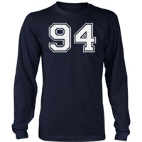 Men's Vintage Sports Jersey Number 94 Long Sleeve T-Shirt for Fan or Player #94