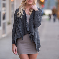 Finding Fall Fringe Cardigan Knit Sweater (Charcoal)