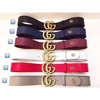 GUCCI Classic Fashion Men Woman Multicolor Smooth Buckle Leather Belt