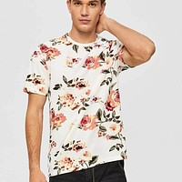 Fashion Casual Men Floral Print Tee