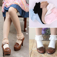 Sweet Cute Women Girls Princess Vintage Cotton Lace Ruffle Frilly Floral Ankle Socks