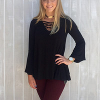 All Criss-Crossed Up Top - Black