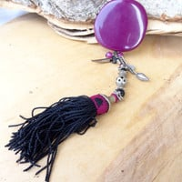 Fuchsia Necklace ,Afghan Tassel Necklace, Rosary Vintage Necklace, Authentic, Exotic Necklace