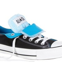 MENS CONVERSE ALL STAR DOUBLE TONGUE LOW BLACK BLUE SIZE 7