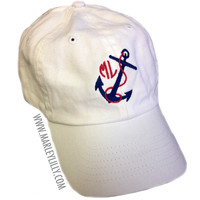 Monogrammed Nautical Anchor Baseball Hat | Custom Cap | Marley Lilly