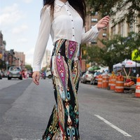 Potential in Paisley Palazzo Pants - Black from Uptown Apparel at Lucky 21