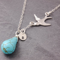 Flying Bird Necklace, personalized jewelry, initial necklace, silver bird necklace, turquoise necklace, mom necklace, friendship, N14