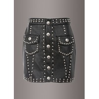 Hell Bent Black Faux Leather Studded Mini Skirt