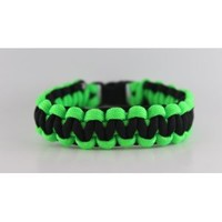 Lime Green and Black Paracord Bracelet - 8 Inches