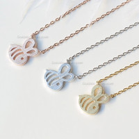 Tiny Honey Bee Necklace, Bumble Bee necklace, bridesmaid gifts, wedding gifts, simple everyday necklace, gift idea