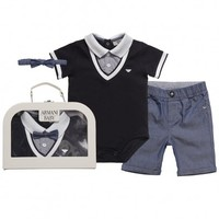 Baby Boys Blue Bodyvest, Trousers and Bowtie Gift Set