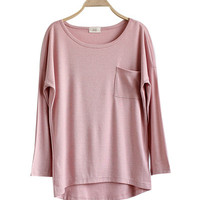Pink Asymmetrical Loose Pocket Sweater