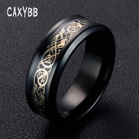 Caxybb Valentine's Day Vintage Chinese Dragon stainless steel gold color Fashion Ring for Men Lord Wedding Band new punk ring
