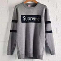 Supreme New Fashion Autumn And Winter Bust Letter Print Women Men Long Sleeve Top Sweater Gray