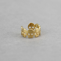 925 sterling silver  gold skull head adjustable opening ring,a perfect gift!