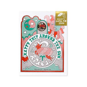 Astrology Birthday Card + Pin Combo - Aries