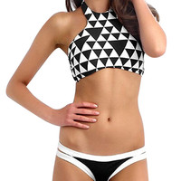 Color Block Bikini with Halter Neck